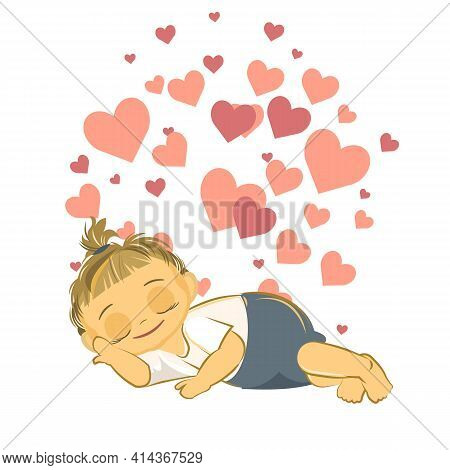 Little Baby Sleeping. Girl. Asleep. Isolated Object On A White Background. Cheerful Kind Funny. Cart