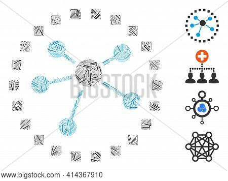 Linear Mosaic Links Diagram Icon Composed Of Narrow Elements In Random Sizes And Color Hues. Linear