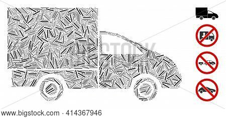 Hatch Mosaic Lorry Icon Organized From Straight Items In Various Sizes And Color Hues. Linear Items