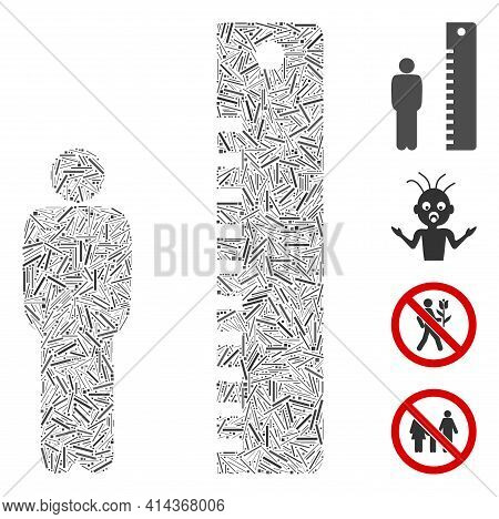 Line Mosaic Man Height Icon Organized From Straight Items In Variable Sizes And Color Hues. Line Ite