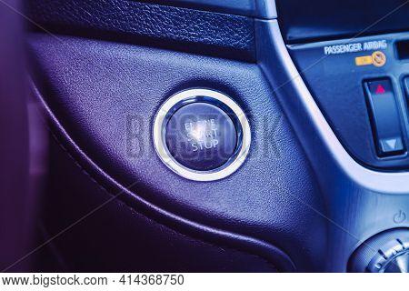 Novosibirsk, Russia - March 26  2021: Toyota Land Cruiser,  Car Engine Push Start Stop Button Igniti