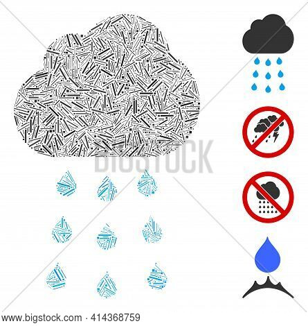 Hatch Collage Rain Cloud Icon Designed From Narrow Items In Various Sizes And Color Hues. Irregular