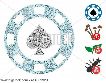 Line Collage Spades Casino Chip Icon United From Straight Items In Variable Sizes And Color Hues. Ir