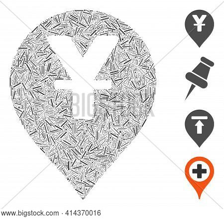 Hatch Collage Yen Map Marker Icon Composed Of Straight Elements In Random Sizes And Color Hues. Irre