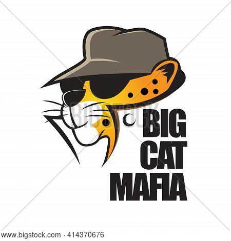 Big Cat Mafia Cartoon. Can Be Used For T Shirt Printing, Logo, Book Cover, Poster Or Any Other Purpo