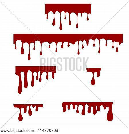Paint Dripping On White Background. Dripping Liquid Sign. Paint Flows Symbol. Dripping Blood Logo. F