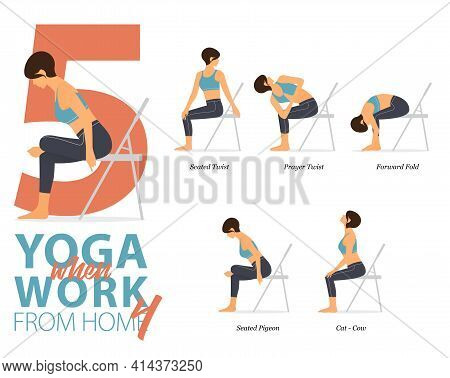 Infographic 5 Yoga Poses For Workout At Home In Concept Of Working At Home In Flat Design. Women Exe
