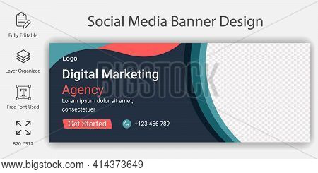 Digital Marketing Social Media Banner Or Cover Page Template  Design. Digital Marketing And Business
