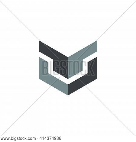Abstract Letter Mu Shadow Box Simple Logo Vector