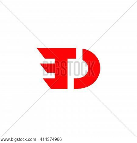Abstract Letter Td Simple Motion Geometric Line Logo Vector