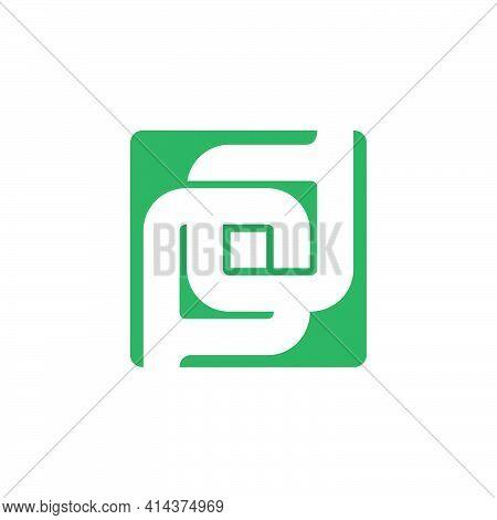 Letter Pd Linked Square Negative Space Dot Geometric Logo Vector