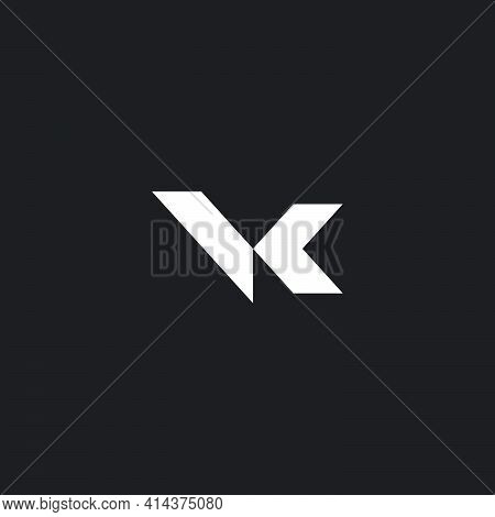 Letter Vk Simple Linked Geometric Arrow Logo Vector