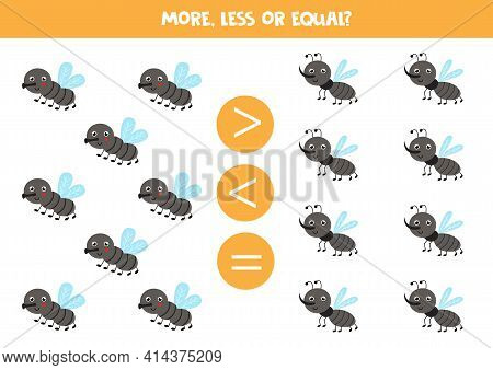 More, Less, Equal With Cute Gnats And Flies. Math Game.