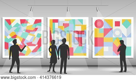 Picture Gallery, Silhouettes Of People Looking At Pictures In The Gallery. Vector Illustration. Vect