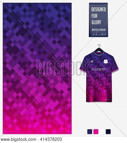 Soccer Jersey Pattern Design. Geometric Pattern On Violet Abstract Background For Soccer Kit, Footba