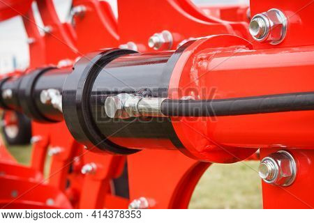 Detail And Part Of Industrial Hydraulic Or Pneumatic Machine. Hydraulic Mechanism. Engineering And T