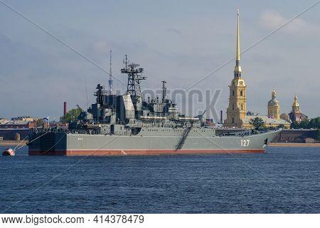 Saint Petersburg, Russia - July 28, 2018: Large Landing Ship