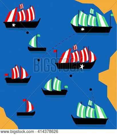 Battle Of Ships. Cover, Poster And Banner. Vector Illustration. Flat.