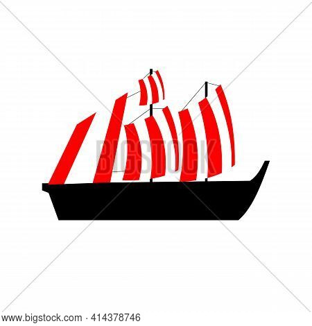 Ship. Vector Illustration. Isolated Object On A White Background. Flat.