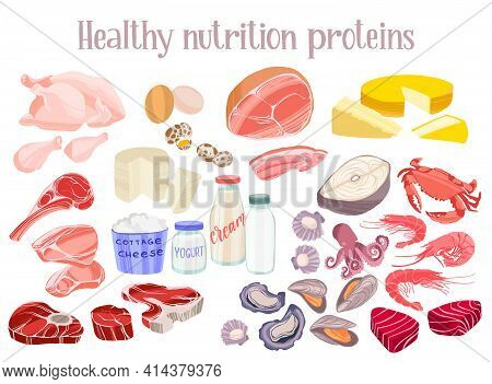 Healthy Proteins Products. Diet Food Concept. Meat, Chicken, Fish And Seafood, Eggs, Dairy Products.