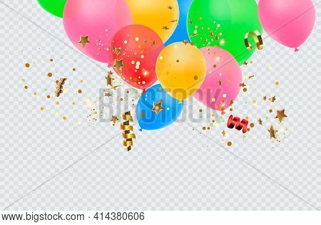 Balloon Border With Shiny Gold Glitter And Star Confetti Isolated On Transparent Background. Vector