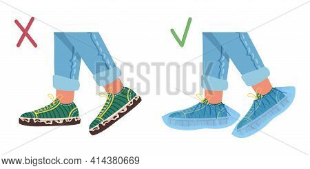 Illustration Of Dirty Shoes And Shoes With Medical Covers. Vector Flat Illustration.