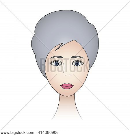 Womans Face. Lady Full Face. Colored Vector Illustration. Ash Blonde With Blue Eyes. Short Pixie Hai