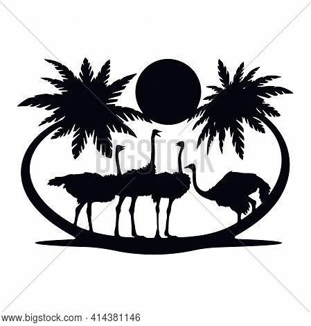 Ostriches Wildlife, Wildlife Stencils - Forest Silhouettes For Cricut, Wildlife Clipart, Cut File, I
