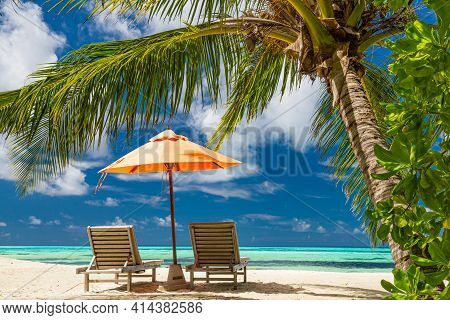 Tranquil Scenery, Relaxing Beach, Tropical Landscape Design. Summer Vacation Travel Holiday Design.