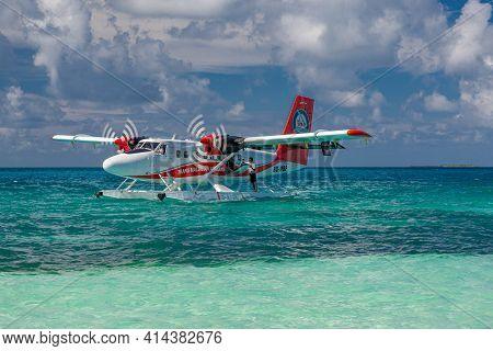 Ari Atoll, Maldives - May.15.2019: Maldives Seaplane On Luxury Resort, Loading Plane, Ready For Depa