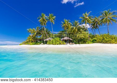 Beach Nature View. Palm Beach In Tropical Idyllic Paradise Island. Exotic Landscape For Dreamy And I