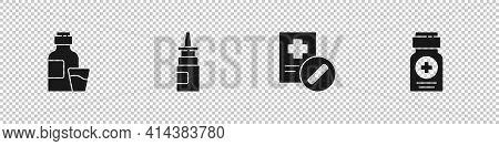 Set Bottle Of Medicine Syrup, Nasal Spray, Medical Prescription And Medicine Bottle Icon. Vector