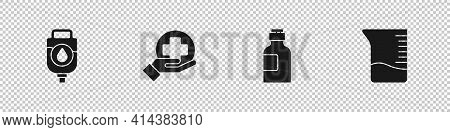 Set Iv Bag, Cross Hospital Medical, Bottle Of Medicine Syrup And Measuring Cup Icon. Vector