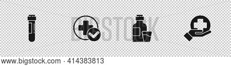 Set Test Tube With Blood, Cross Hospital Medical, Bottle Of Medicine Syrup And Icon. Vector