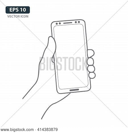 Hand With Mobile Phone Line Art. Hand Holding Mobile Icon. Hand Holding Smartphone Icon Isolated On