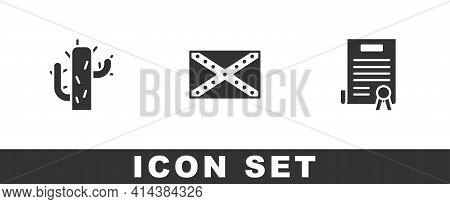 Set Cactus, Flag Confederate And Declaration Of Independence Icon. Vector