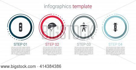 Set Snowboard, Bicycle Helmet, Bungee Jumping And Longboard Or Skateboard. Business Infographic Temp