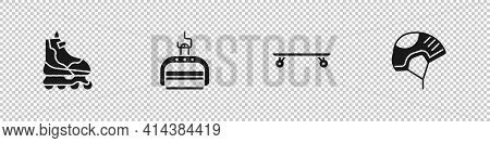 Set Roller Skate, Ski Lift, Longboard Or Skateboard And Helmet Icon. Vector