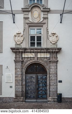 Innsbruck, Austria - February 8 2021: Faculty Of Theology In The Old Grammar School Or Altes Gymnasi