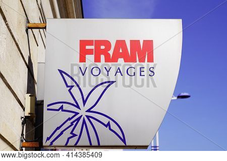 Bordeaux , Aquitaine France - 03 22 2021 : Fram Voyages Logo Brand And Text Sign Of Travel Agency St
