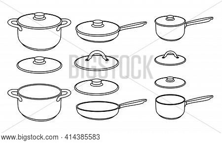 Set Of Frying Pan And Different Pots Isolated On White Background. Vector Illustration. Vector Set O