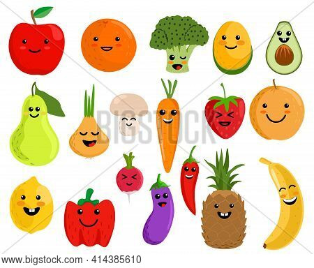 Happy Cute Smiling Fruit Face Set. Vector Flat Kawaii Cartoon Character Illustration Icon Collection