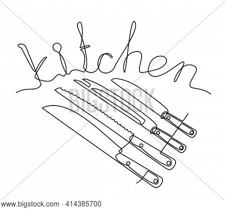 Kitchen Lettering. Hand Lettered Kitchen Quote, Isolated On White Background. Food Related Modern Le