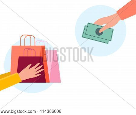 Online Shopping Delivery Concept. Payment Process. Courier Giving Shopping Bags. Customer Giving Mon