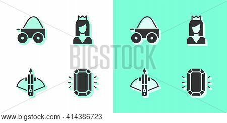 Set Diamond, Wooden Four-wheel Cart, Battle Crossbow With Arrow And Princess Icon. Vector