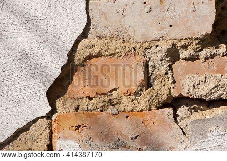 Old Brick Wall. Brick Wall Background, Brick Texture. Background, Old Wall, Red Brick, Cracked Plast