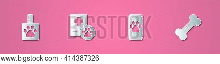 Set Paper Cut Pet Shampoo, Clinical Record Pet, Veterinary Clinic And Dog Bone Icon. Paper Art Style