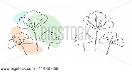 Vector Ginkgo Biloba Leaves In Line Art Style. Continuous One Line Drawing With Abstract Pastel Shap