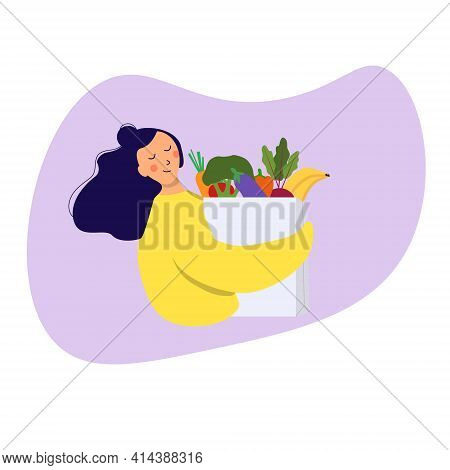 Food Delivery Service . Woman Bringing Grocery Bag With Vegetables In It To Home. Young Girl Holding
