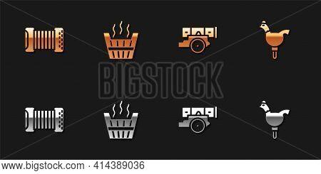 Set Accordion, Sauna Bucket, Cannon And Cockerel Lollipop Icon. Vector